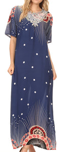 Sakkas Sabra Womens Long Casual Cover-up Tunic Kaftan V neck Dress#color_1918-Navy