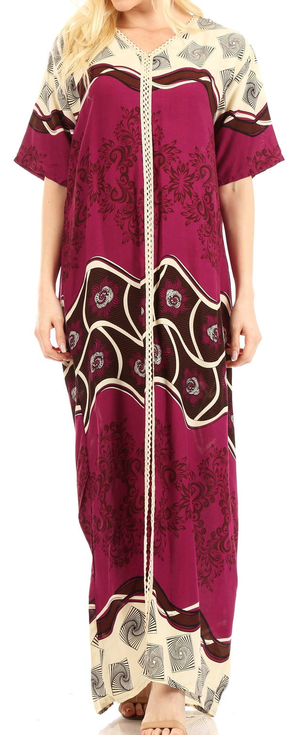 Sakkas Sabra Womens Long Casual Cover-up Tunic Kaftan V neck Dress#color_Fuchsia