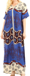 Sakkas Sabra Womens Long Casual Cover-up Tunic Kaftan V neck Dress#color_Royal Blue