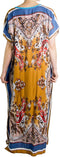 Sakkas Aggy Womens Dashiki African Print Caftan Dress Maxi Boho Hippie Colorful#color_Blue / Brown