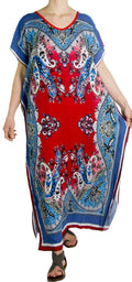 Sakkas Aggy Womens Dashiki African Print Caftan Dress Maxi Boho Hippie Colorful#color_Blue / Red