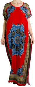 Sakkas Aggy Womens Dashiki African Print Caftan Dress Maxi Boho Hippie Colorful#color_Red / Multi