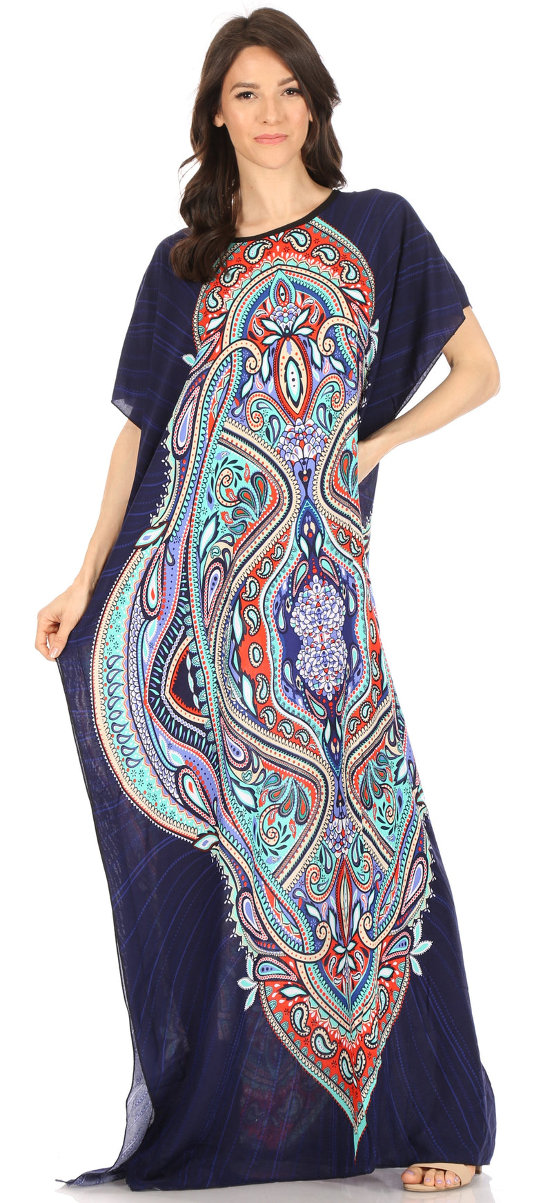 Sakkas Aggy Womens Dashiki African Print Caftan Dress Maxi Boho Hippie Colorful