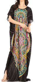 Sakkas Aggy Womens Dashiki African Print Caftan Dress Maxi Boho Hippie Colorful#color_Style3