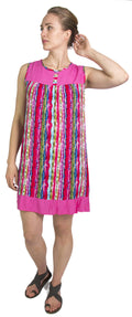Sakkas Aidan Women Summer Short Shift Dress Colorful Loose Boho Casual Sleeveless#color_Fuchsia