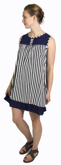 Sakkas Aidan Women Summer Short Shift Dress Colorful Loose Boho Casual Sleeveless#color_Navy