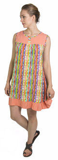 Sakkas Aidan Women Summer Short Shift Dress Colorful Loose Boho Casual Sleeveless#color_Salmon-Multi