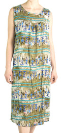 Sakkas Amare Women Bohemian Swing Midi Dress Sleeveless Summer Floral Tribal Print#color_Olive