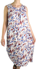 Sakkas Amare Women Bohemian Swing Midi Dress Sleeveless Summer Floral Tribal Print#color_White