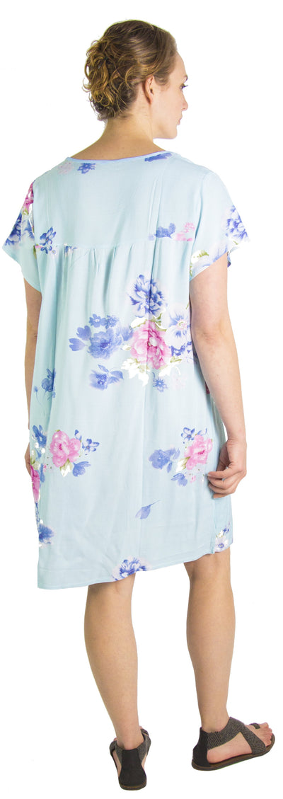 group-Baby Blue (Sakkas Aila Women Summer Casual Short Sleeve Flowy Cover up Dress Floral Print)