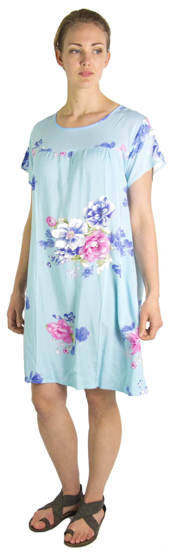 Sakkas Aila Women Summer Casual Short Sleeve Flowy Cover up Dress Floral Print#color_Baby Blue