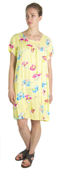Sakkas Aila Women Summer Casual Short Sleeve Flowy Cover up Dress Floral Print#color_Yellow