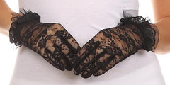 Sakkas Sylvia wrist length feminine stretch lace glove with tulle ruffle detail