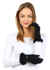 Sakkas Classic Faux Fur Wool Touchscreen Gloves