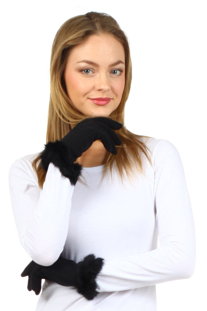 Sakkas Fleece Lined Faux Fur Touchscreen Gloves