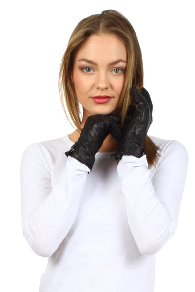 Sakkas Classic Leather Plush Lined Driving Gloves