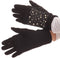 Sakkas Tam Rhinestone Pearl Touch Screen Tip Knitted Glove With Removable Sleeve#color_Black