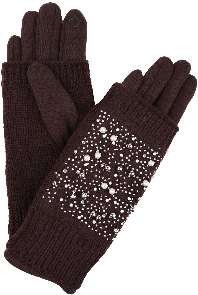 Sakkas Tam Rhinestone Pearl Touch Screen Tip Knitted Glove With Removable Sleeve