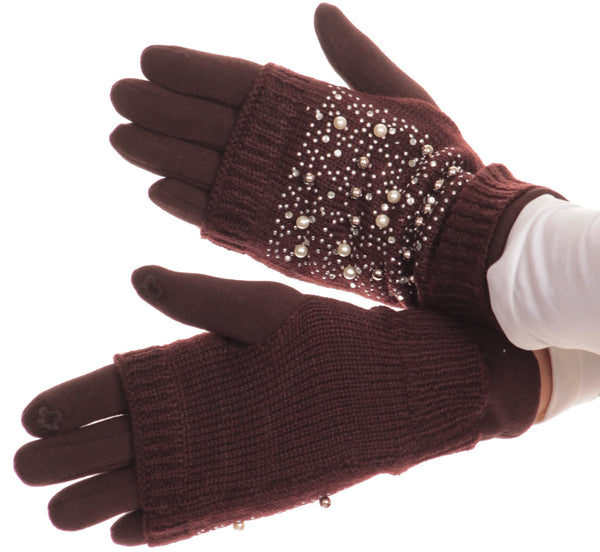 Sakkas Tam Rhinestone Pearl Touch Screen Tip Knitted Glove With Removable Sleeve#color_Brown