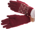Sakkas Tam Rhinestone Pearl Touch Screen Tip Knitted Glove With Removable Sleeve#color_Burgundy