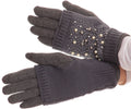 Sakkas Tam Rhinestone Pearl Touch Screen Tip Knitted Glove With Removable Sleeve#color_Grey
