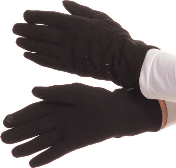 Sakkas Lidy Leather Embroidered Comfortable Warm Snow Touch Screen Finger Gloves#color_Black