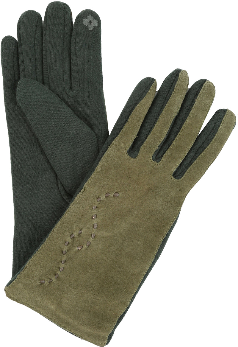 Sakkas Lidy Leather Embroidered Comfortable Warm Snow Touch Screen Finger Gloves