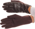 Sakkas Pamb Faux Leather Heather Knit Button Front Warm Winter Touch Screen Gloves#color_Brown