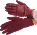 Sakkas Pamb Faux Leather Heather Knit Button Front Warm Winter Touch Screen Gloves#color_Burgundy