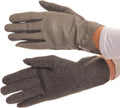 Sakkas Pamb Faux Leather Heather Knit Button Front Warm Winter Touch Screen Gloves#color_Grey