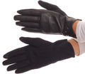 Sakkas Pamb Faux Leather Heather Knit Button Front Warm Winter Touch Screen Gloves#color_Navy
