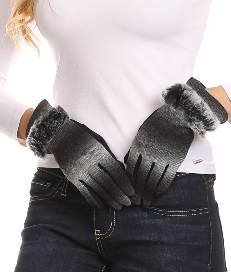 Sakkas Sophie Ombre Knitted Faux Fur Wrist Band Touch Screen Capable Gloves
