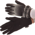 Sakkas Sophie Ombre Knitted Faux Fur Wrist Band Touch Screen Capable Gloves#color_Black / White