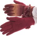 Sakkas Sophie Ombre Knitted Faux Fur Wrist Band Touch Screen Capable Gloves#color_Brown / White