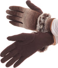 Sakkas Sophie Ombre Knitted Faux Fur Wrist Band Touch Screen Capable Gloves#color_Dark Brown / White