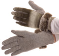 Sakkas Sophie Ombre Knitted Faux Fur Wrist Band Touch Screen Capable Gloves#color_Green / White