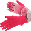 Sakkas Sophie Ombre Knitted Faux Fur Wrist Band Touch Screen Capable Gloves#color_Pink / White