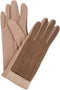 Sakkas Rayanne Soft Classic Knit Faux Leather Wrist Band Touch Screen Warm Gloves#color_Beige