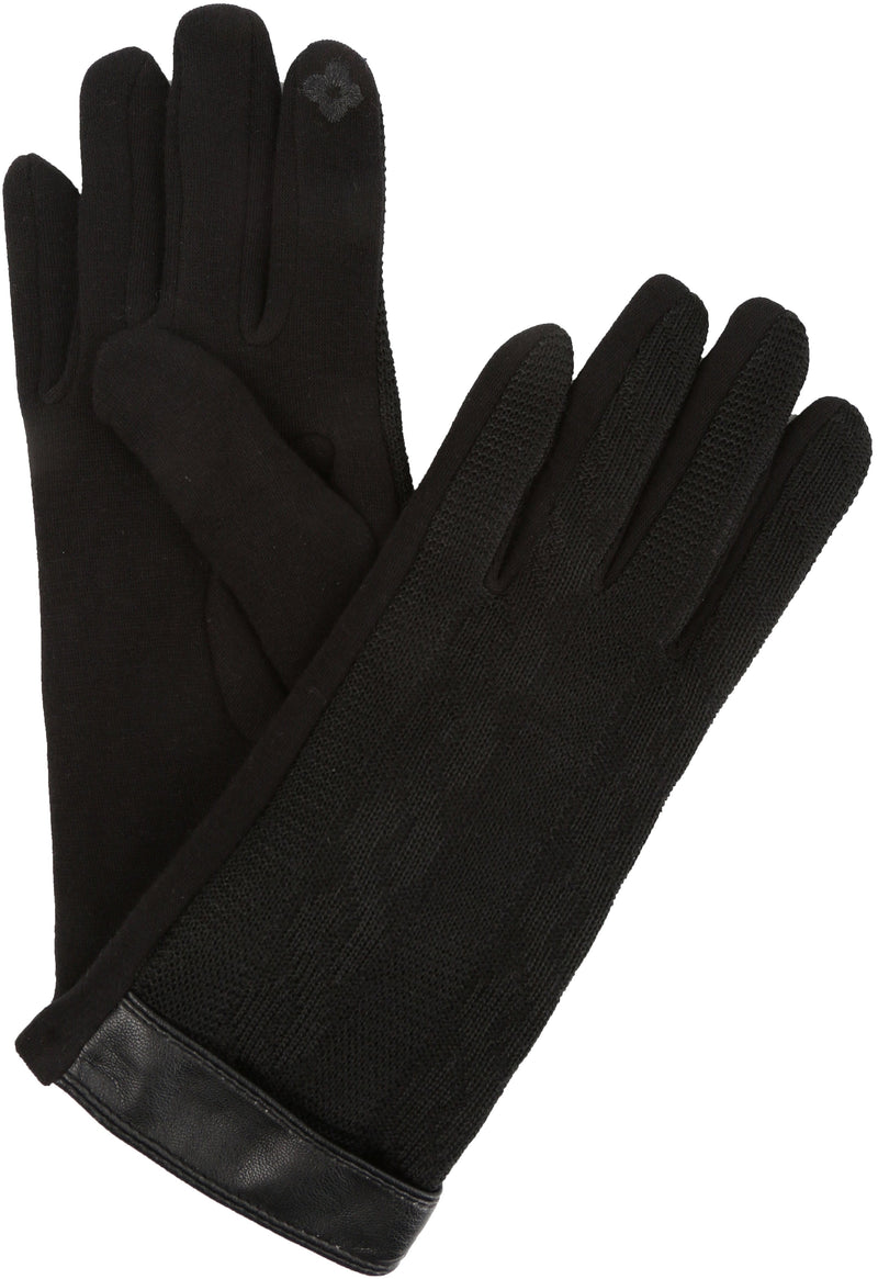 Sakkas Rayanne Soft Classic Knit Faux Leather Wrist Band Touch Screen Warm Gloves