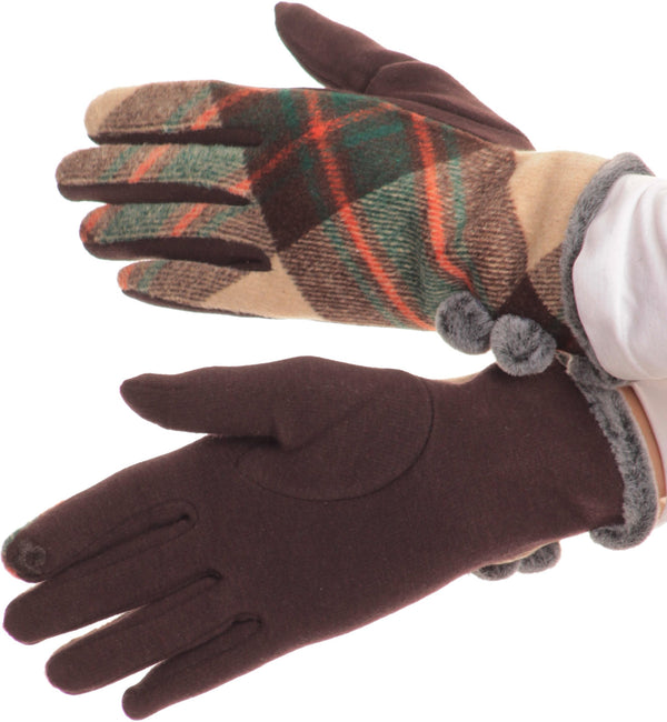 Sakkas Valy Classic Winter Checker Patterned Faux Fur Pom Pom Touch Screen Gloves#color_Coffee