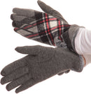 Sakkas Valy Classic Winter Checker Patterned Faux Fur Pom Pom Touch Screen Gloves