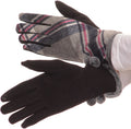 Sakkas Valy Classic Winter Checker Patterned Faux Fur Pom Pom Touch Screen Gloves#color_Pink