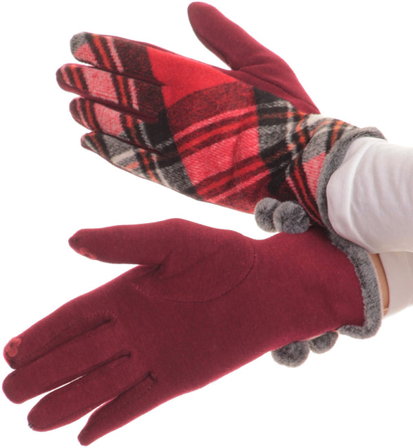 Sakkas Valy Classic Winter Checker Patterned Faux Fur Pom Pom Touch Screen Gloves#color_Red