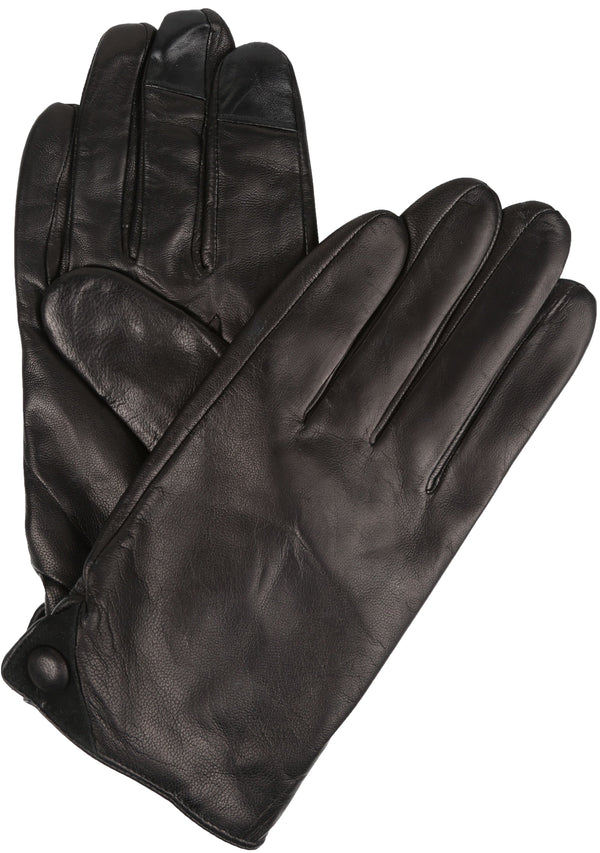 Sakkas Damen Mens Classic Touch Screen Compatible Real Leather Gloves#color_Black