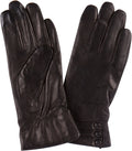 Sakkas Syle Womens Touch Screen Real Leather Three Button Fitted Gloves #color_Black
