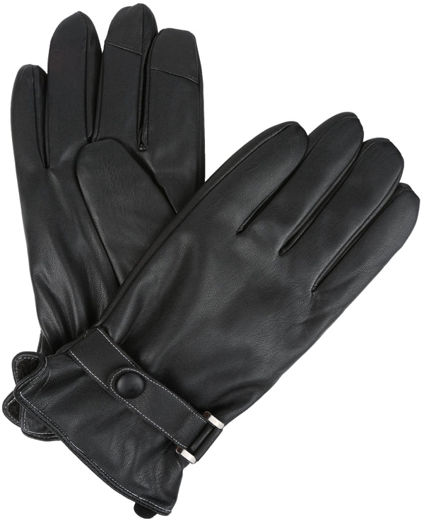 Sakkas Kaleem Adjustable Snap Touch Screen Compatible Driving Faux Leather Gloves#color_Black