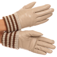 Sakkas Oda Warm Striped Wool Cuff Winter Touch Screen Wrist Length Gloves