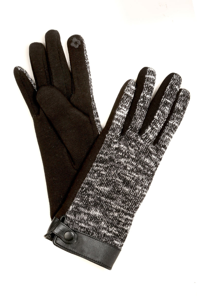 Sakkas Lilith Heather Knit Wrist Length Touch Screen Wrist Snap Winter Gloves
