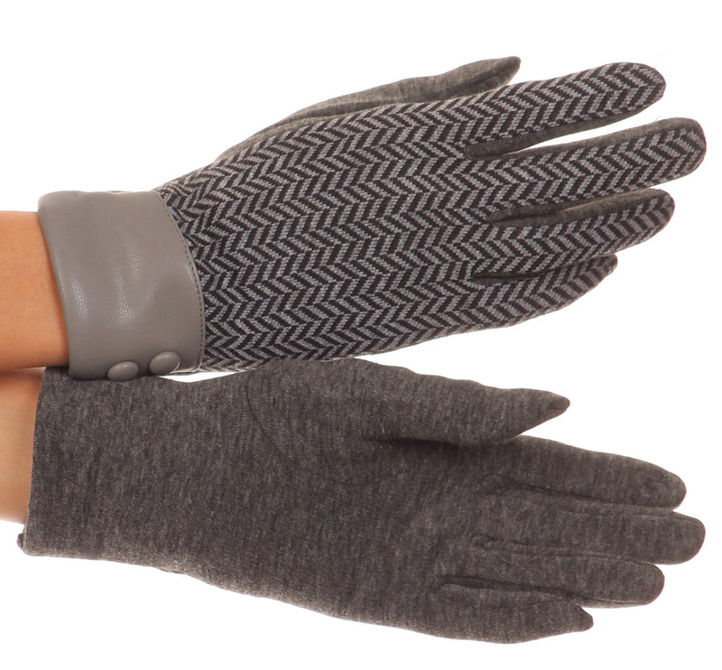 Sakkas Bronywn Warm Winter Wrist Length Chevron Pattern Touch Screen Gloves