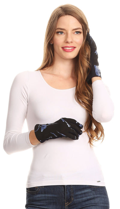 group-17100-blue (Sakkas Liya Classic Warm Driving Touch Screen Capable Stretch Gloves Fleece Lined)